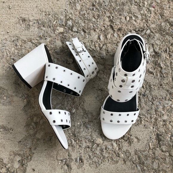 NWOT Rebecca Minkoff white leather heel sandals